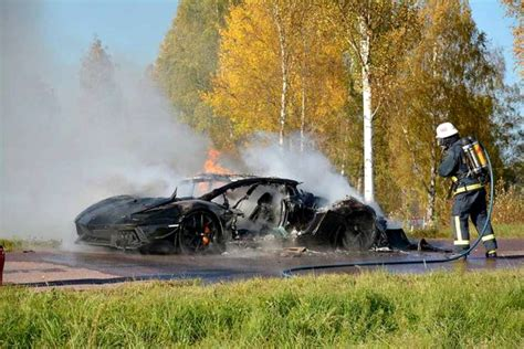 Burning Lamborghini One Lamborghini Aventador From Sweden Destroyed By