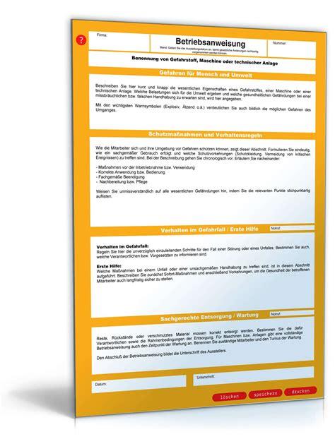 Kostenlos Musterbriefe Herunterladen Betriebsanweisung Vorlage Zum