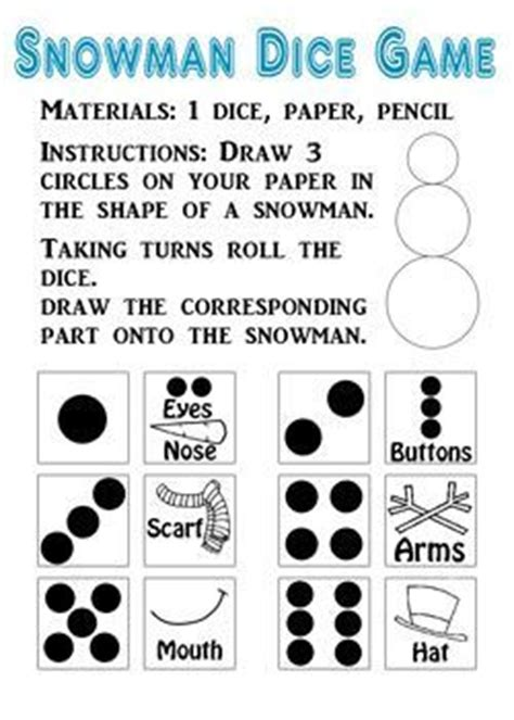 printable snowman dice game 17 best images about diy easy crafts on pinterest fun