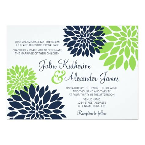 navy blue and green wedding invitations green and navy blue floral burst wedding 5x7 paper invitation card zazzle
