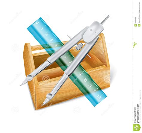 drawing tool with measurements drawing compass with ruler and wooden tool box stock vector image 35994200