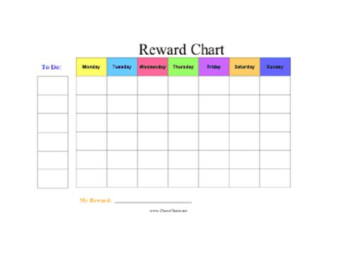 reward chart template word printable reward chart in color