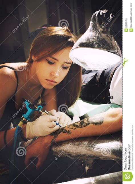 girl tattoo artist famous beautiful young girl tattoo artist portrait during