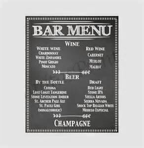 bar menu templates free 24 bar menu templates free sle exle format