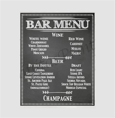 bar drink menu template 24 bar menu templates free sle exle format