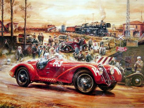 painting racing automotive vintage cars antique cars classic cars