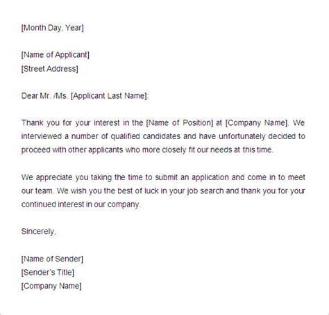 Rejection Letter For Template 29 Rejection Letters Template Hr Templates Free Premium Templates Free Premium Templates