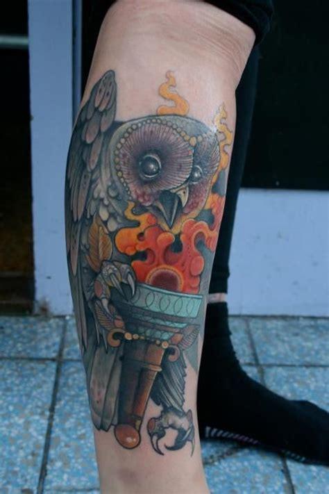 owl tattoo knee by mitch allenden tattoos pinterest tattoo artists