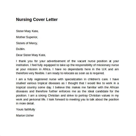 nursing cover letter templates sample
