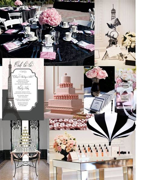 pink and black bridal shower ideas chanel bridal shower pink black and white stripes