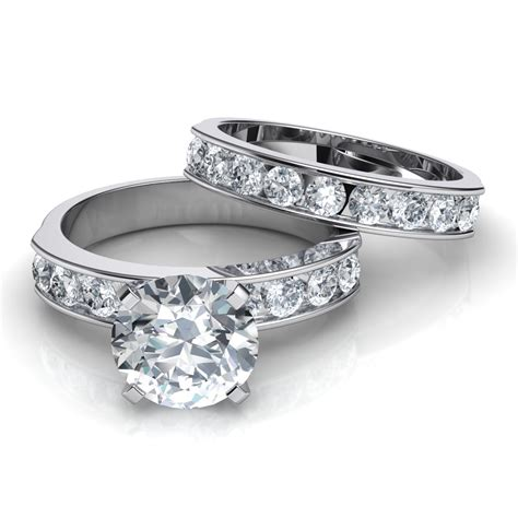 Wedding Set Band by Channel Set Engagement Ring Matching Wedding Band Bridal Set