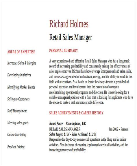 Retail Sales Manager Resume Sles by 42 Manager Resume Templates Free Premium Templates