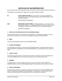 free article of incorporation template sle articles of incorporation company documents