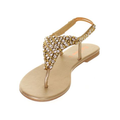 golden sandals womens gold diamante slingback shoes wedding prom