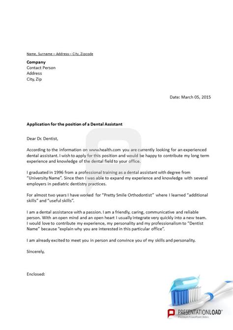 application letter for dental powerpoint letter of application dental a modern