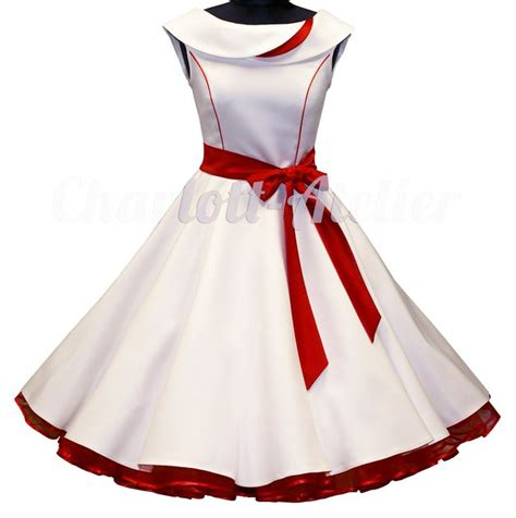 Brautkleider 50er 60er by 50er Petticoatkleid Wei 223 Rot Brautkleid 50er Kleid