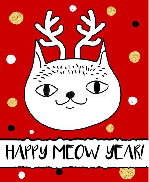 Headband Card Template Svg by Doodle Cat In Deer Horns Headband Modern