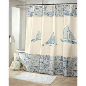 Sailboat Shower Curtains Avanti Schooner Fabric Shower Curtain Blue White Nautical Sailboat Map Ebay