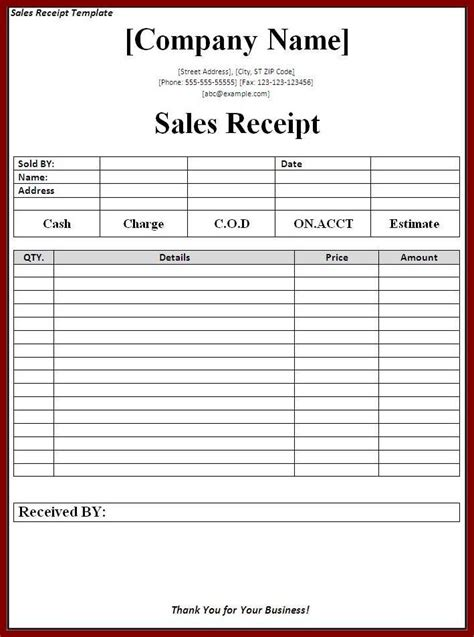 sales receipt template page word templates resit receipt template templates words
