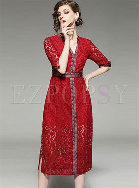 V Neck Embroidered A Line Dress v neck embroidered lace a line dress ezpopsy