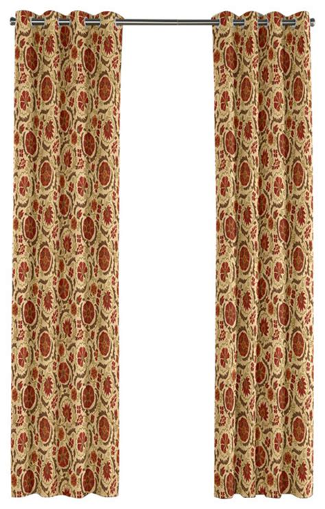red grommet curtain panels beige and red suzani grommet curtain mediterranean