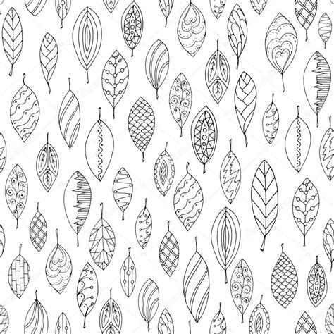 Autumn White by Autumn White And Black Seamless Stylized Leaf Pattern In