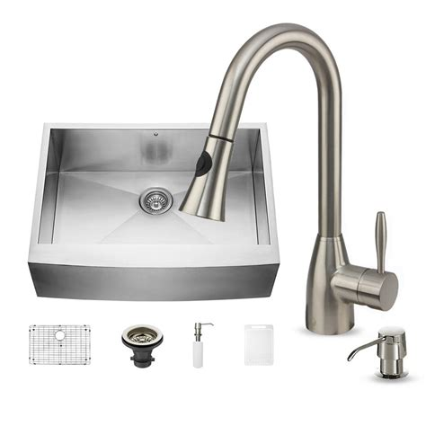 All In One Kitchen Sinks Vigo All In One Farmhouse Apron Front Stainless Steel 30 In Single Bowl Kitchen Sink In