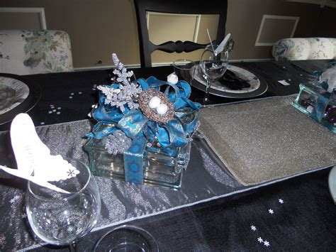 christmas table glass block centerpieces with lights