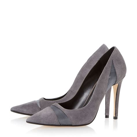 dune bardot mesh detail high heel court shoes in gray lyst