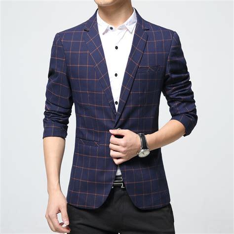 Jfashion Mens Ekslusif Blazer Stephen mens plaid blazer cotton mixed casual coat slim fit clothing new 2018 navy blue europe drop