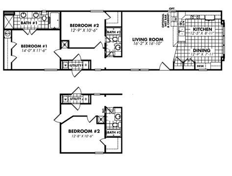 2 bedroom 1 bath mobile home floor plans 1 bedroom bath mobile home floor plans