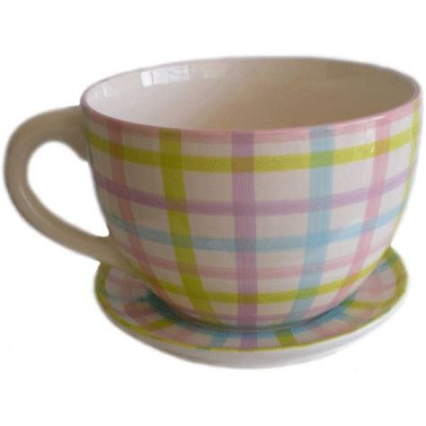 Giant Gingham Tea Cup And Saucer Planter Unique Gifts Large Teacup Planter