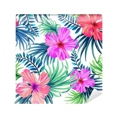 hibiscus pattern png seamless tropical floral pattern hibiscus and palm leaves