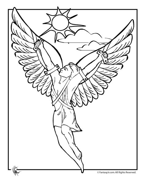 letters to icarus books myths coloring page icarus woo jr activities