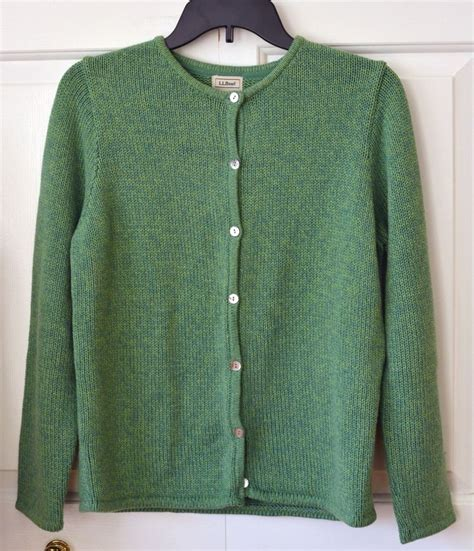Button L l l bean s m 100 cotton green cardigan sweater