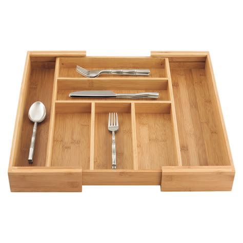 Expandable Bamboo Drawer Organizer by Expandable Bamboo Cutlery Tray The Container Store