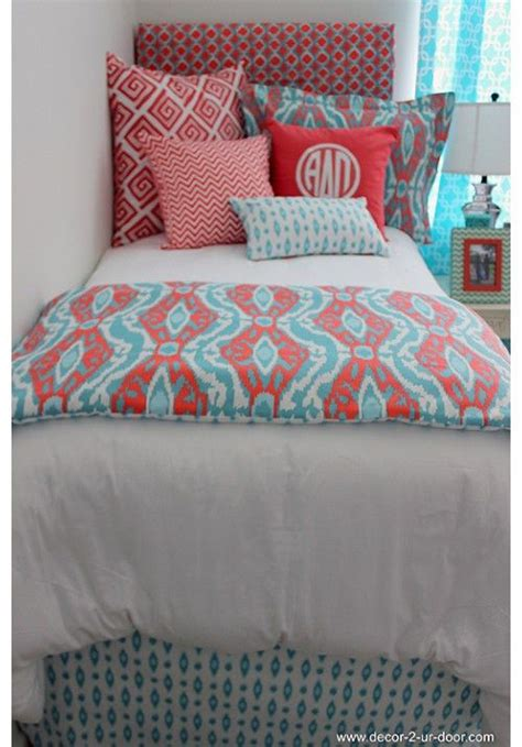 coral bed in a bag coral aqua ikat dorm bed scarf bags girls and girl dorms