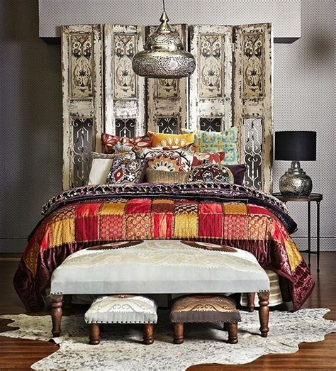 Bohemian Headboard moroccan style white bedroom bedroom the