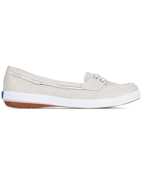 boat shoes keds lyst keds women s glimmer boat shoes in metallic