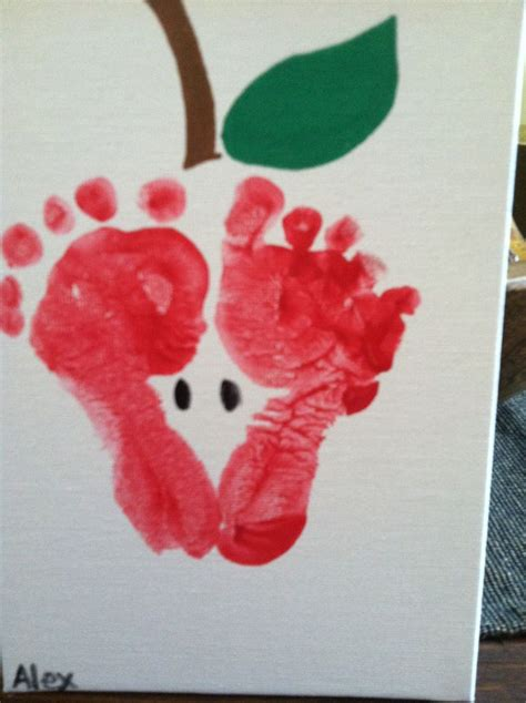 footprint crafts for apple print made out of footprints apple crafts school