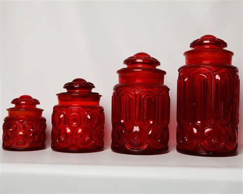 red kitchen canister vintage ruby moon star depression glass set of 4 40