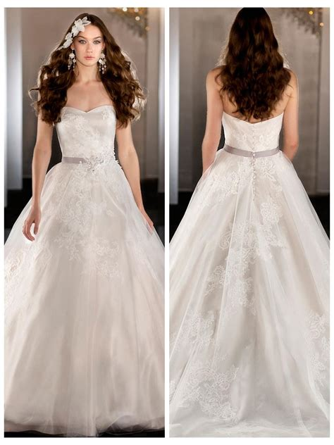 strapless tulle gown with beaded belt strapless tulle sweetheart lace appliques gown