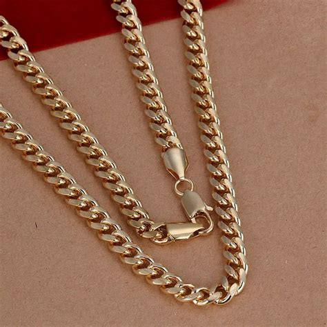 Cincin Silver 925 7 sale free shipping 925 silver necklace fashion sterling silver jewelry 7mm golden sideways