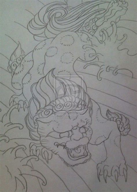 foo dog tattoo drawings foo dog tattoo design by k far