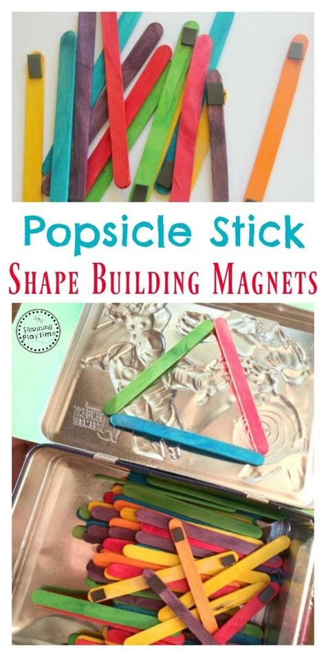 Kindergarten Activities With Popsicle Sticks | popsicle stick shape building magnets magnets