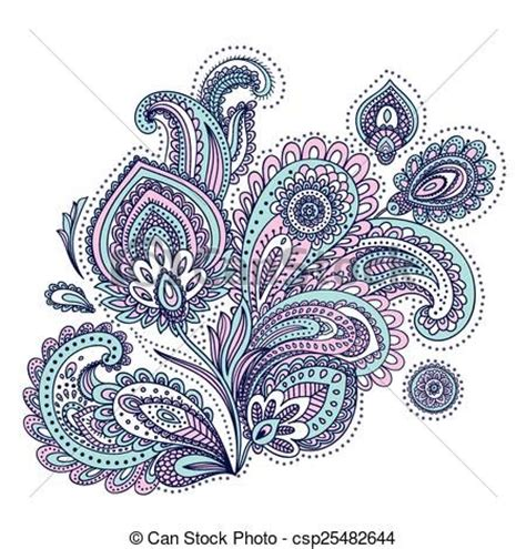 colorful flower tattoos designs royalty free images no vector beautiful indian paisley ornament stock
