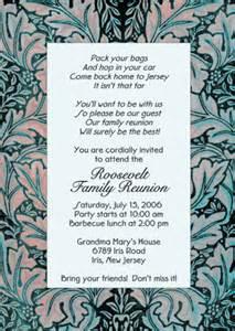 family invitation wording family reunion invitation style wmfr 09