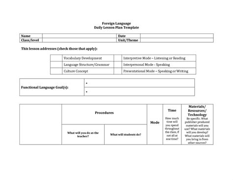 World Language Lesson Plan Template by World Language Lesson Plan Template Write Happy Ending