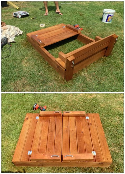 sandbox with bench diy sandbox projects picture instructions