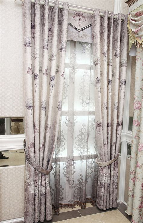 purple floral jacquard polyester custom elegant curtains  drapes